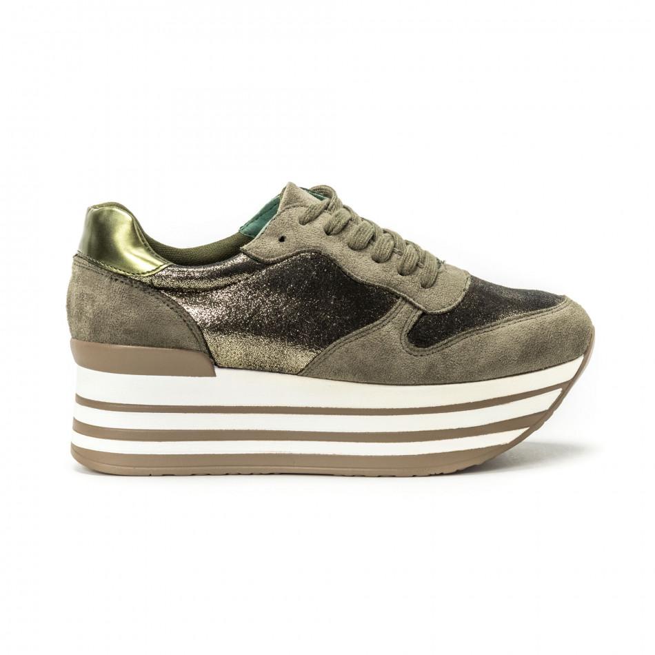 Pantofi sport cu platforma pentru dama în verde militar it150818-65