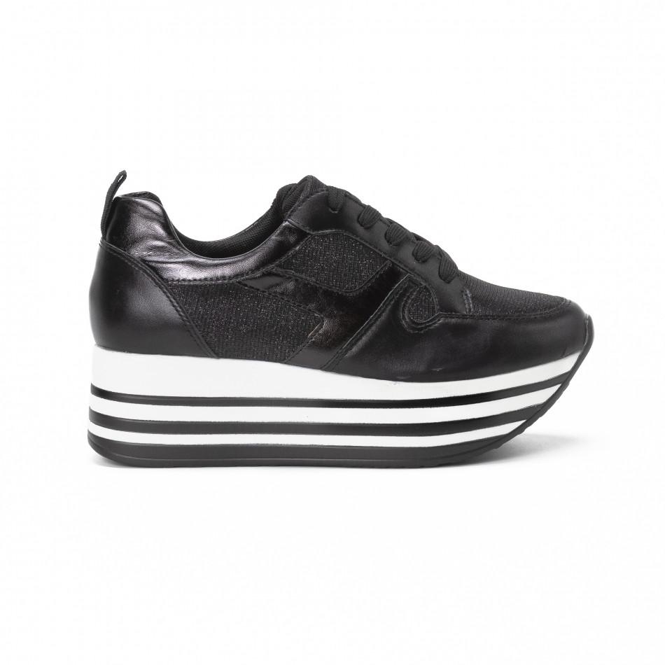 Pantofi sport cu platforma de dama cu părți strălucitoare it150818-29