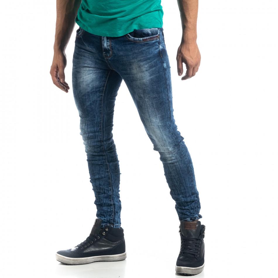 Blugi de bărbați Washed albaștri cu efect șifonat Slim fit it041019-35