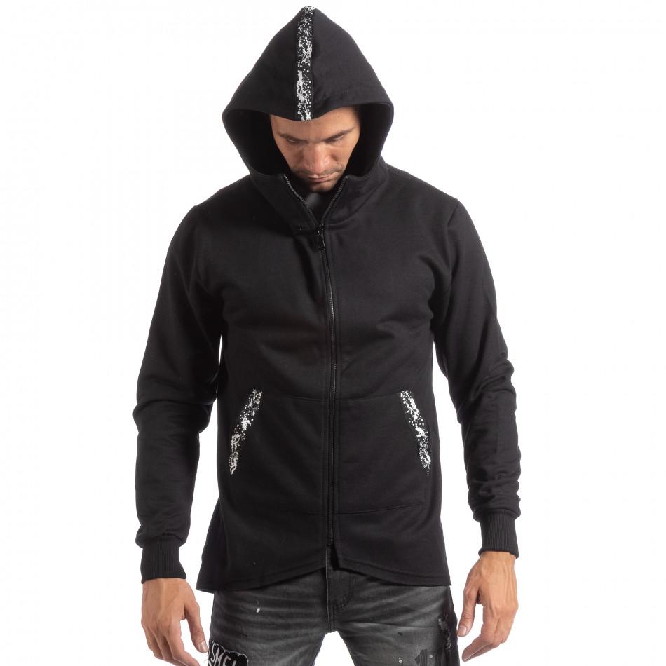 Hanorac negru model lung pentru bărbați it250918-62