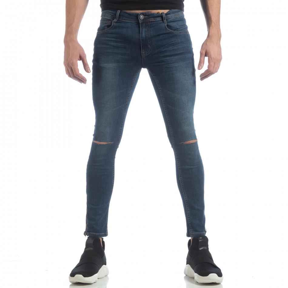 Blugi Skinny de bărbați albaștri cu fermoare it040219-6