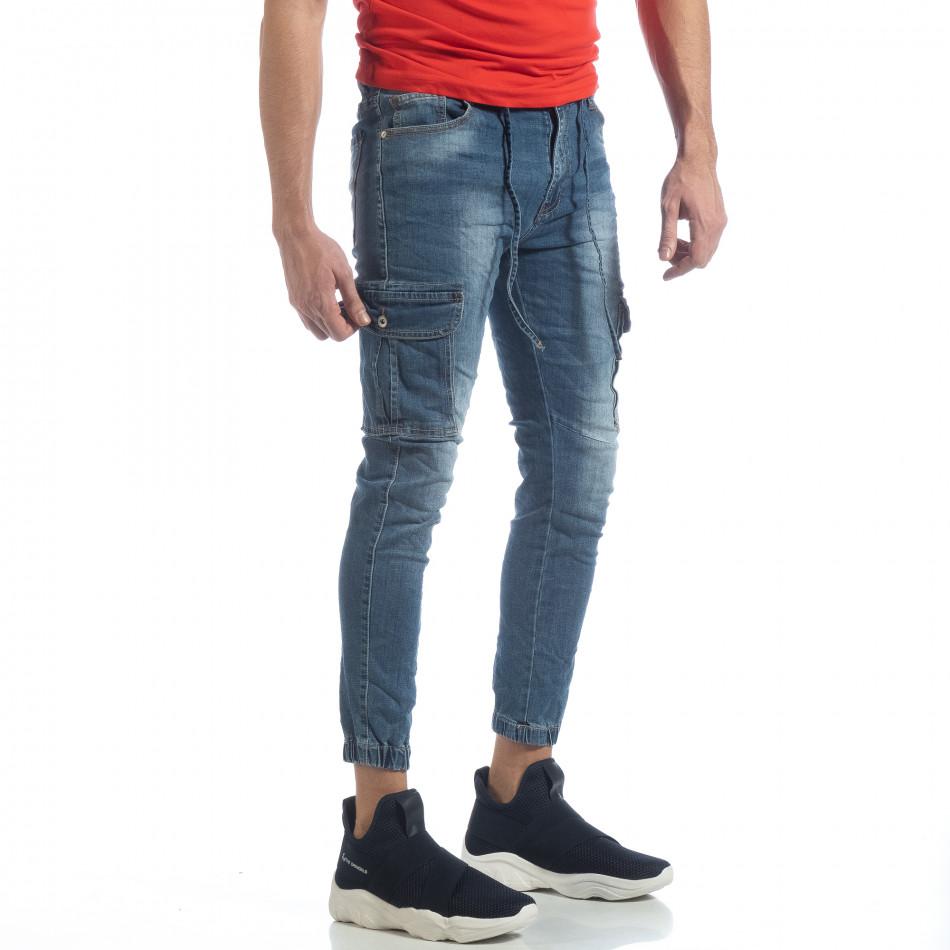 Blugi cargo de bărbați albaștri cu elastic și șiret it040219-21