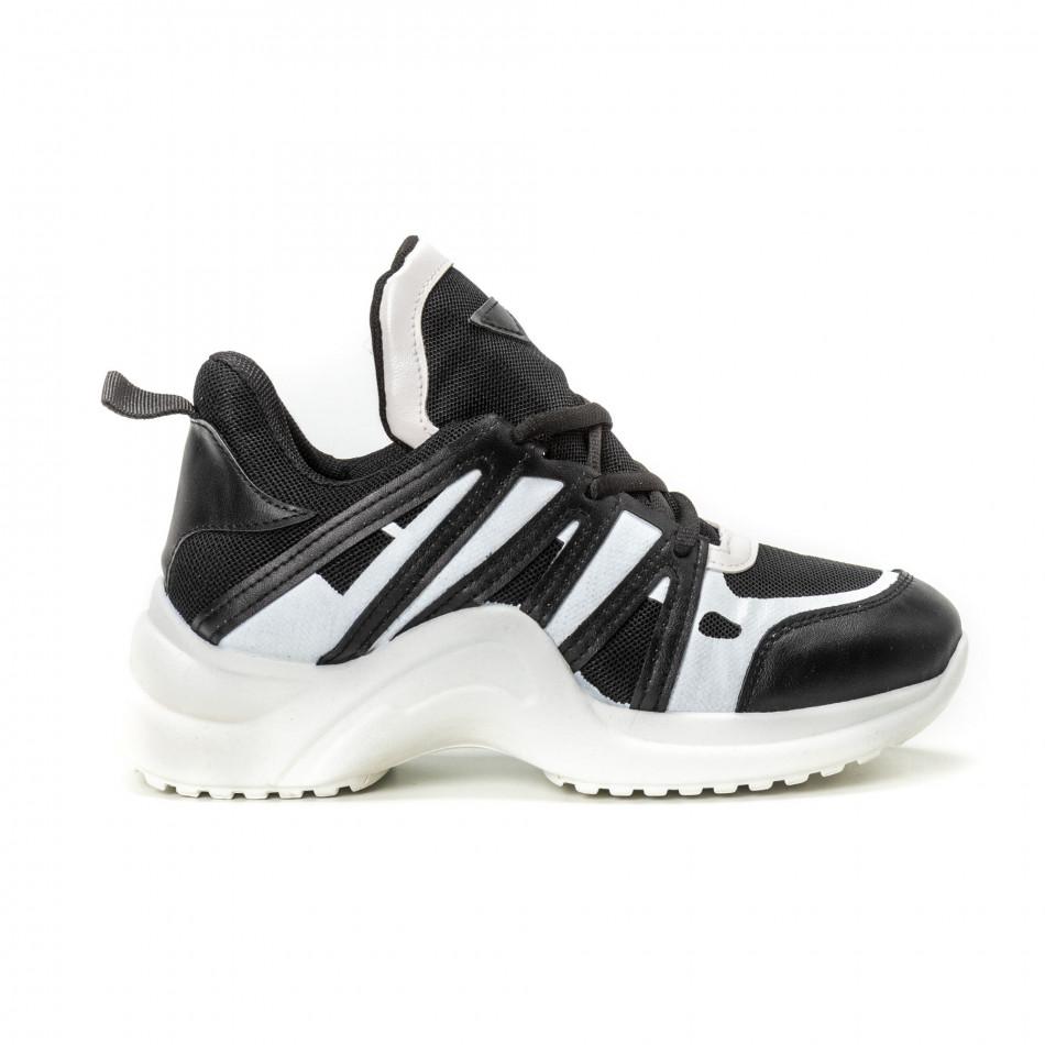Pantofi sport pentru dama în negru-alb it150818-48