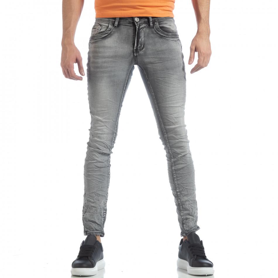 Washed Slim Jeans gri pentru bărbați it040219-14