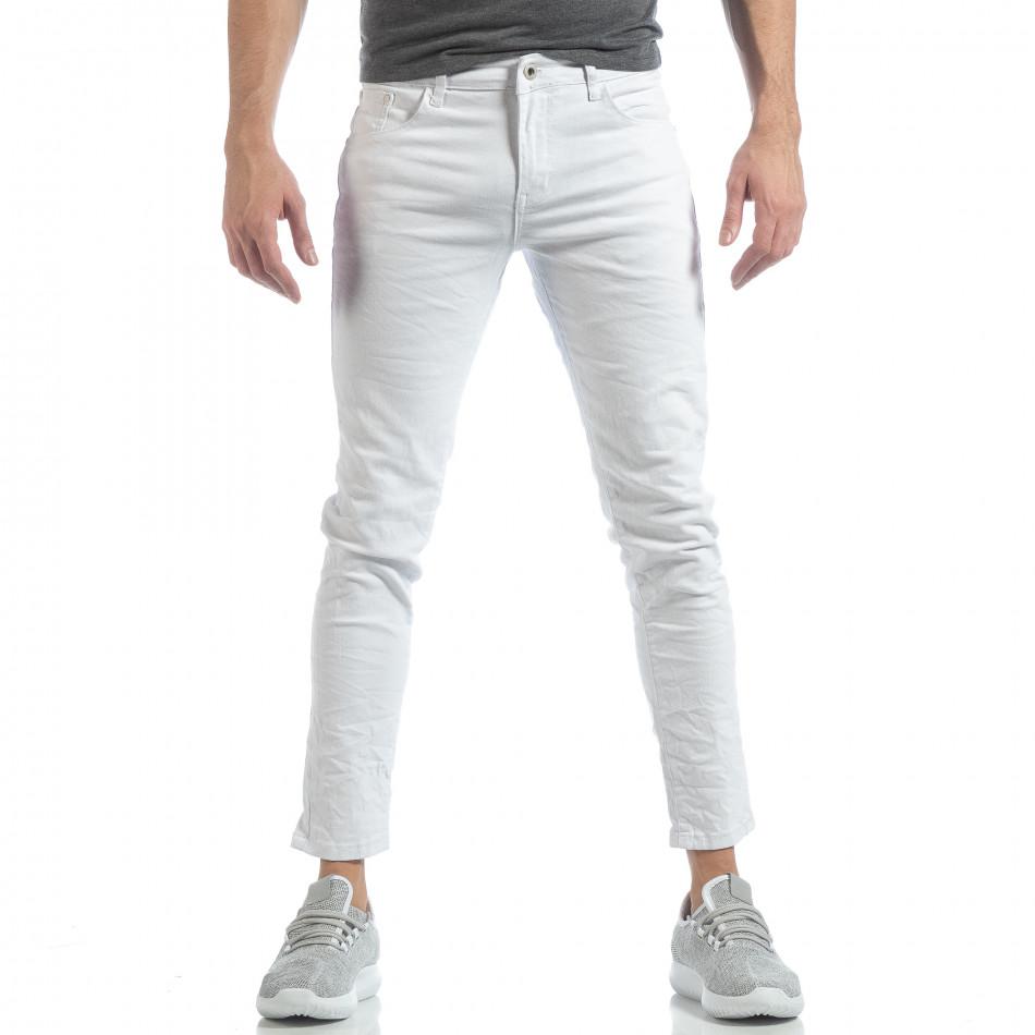 Blugi Skinny de barbați albi cu efect șifonat it040219-1