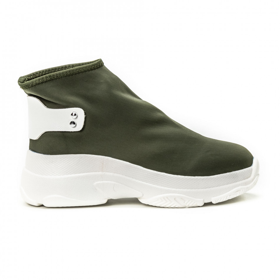 Pantofi sport fără șireturi pentru dama din neopren verde it150818-73