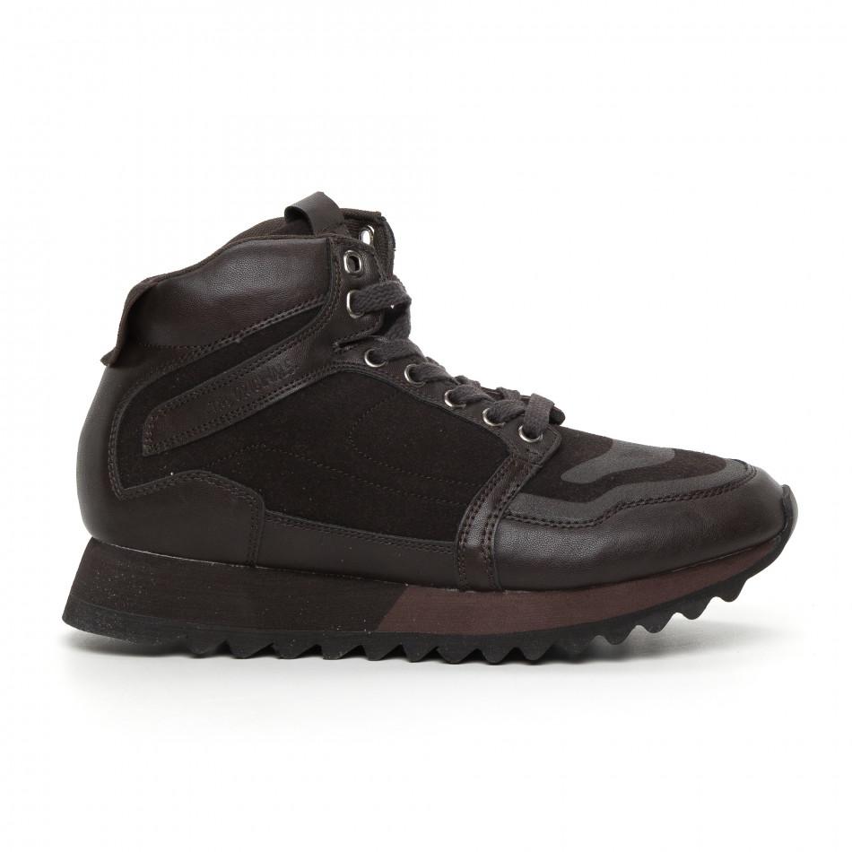 Pantofi sport înalți maro pentru bărbați it130819-26