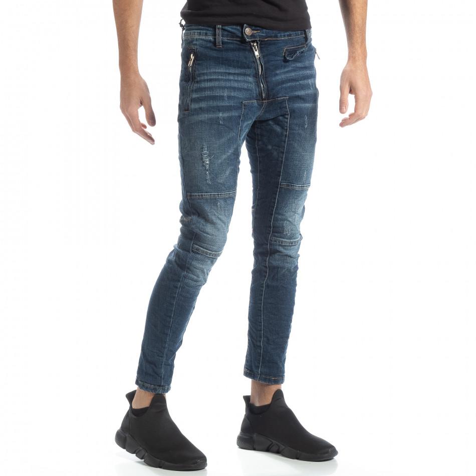Blugi albaștri Biker style pentru bărbați it051218-9