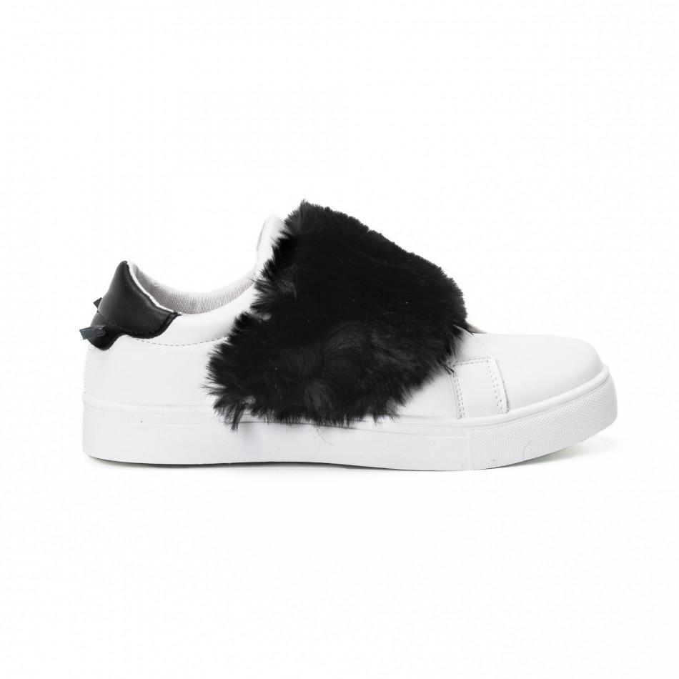 Teniși Slip-on albi de dama cu călcâi și puf negru  it150818-56