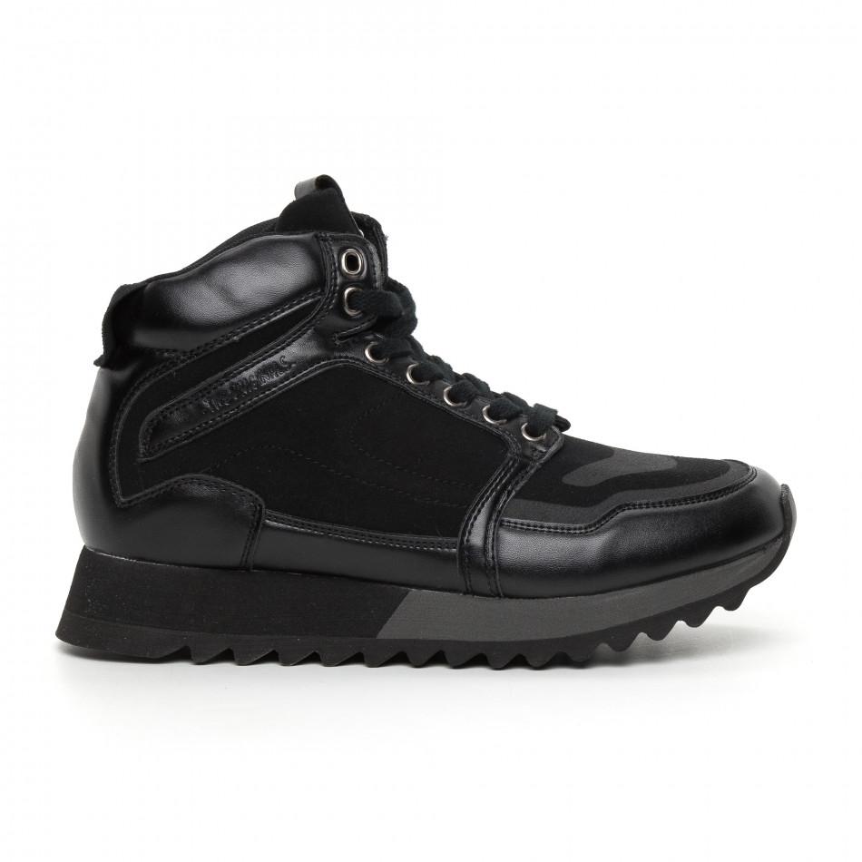 Pantofi sport înalți negri pentru bărbați it130819-23
