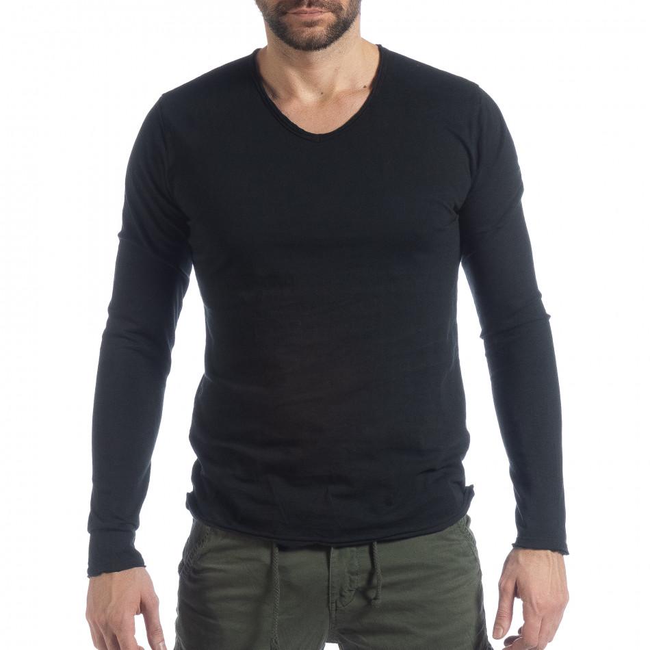 Bluză în negru V-neck pentru bărbați  it040219-88