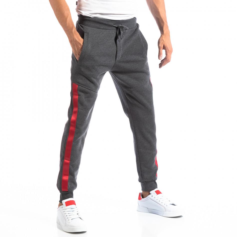 Pantaloni sport gri închis cu benzi roșii pentru bărbați it250918-45