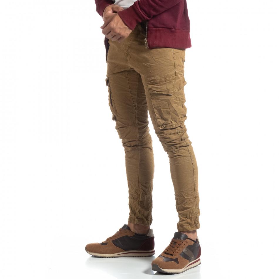 Pantaloni cargo kaki drepți pentru bărbați it170819-14