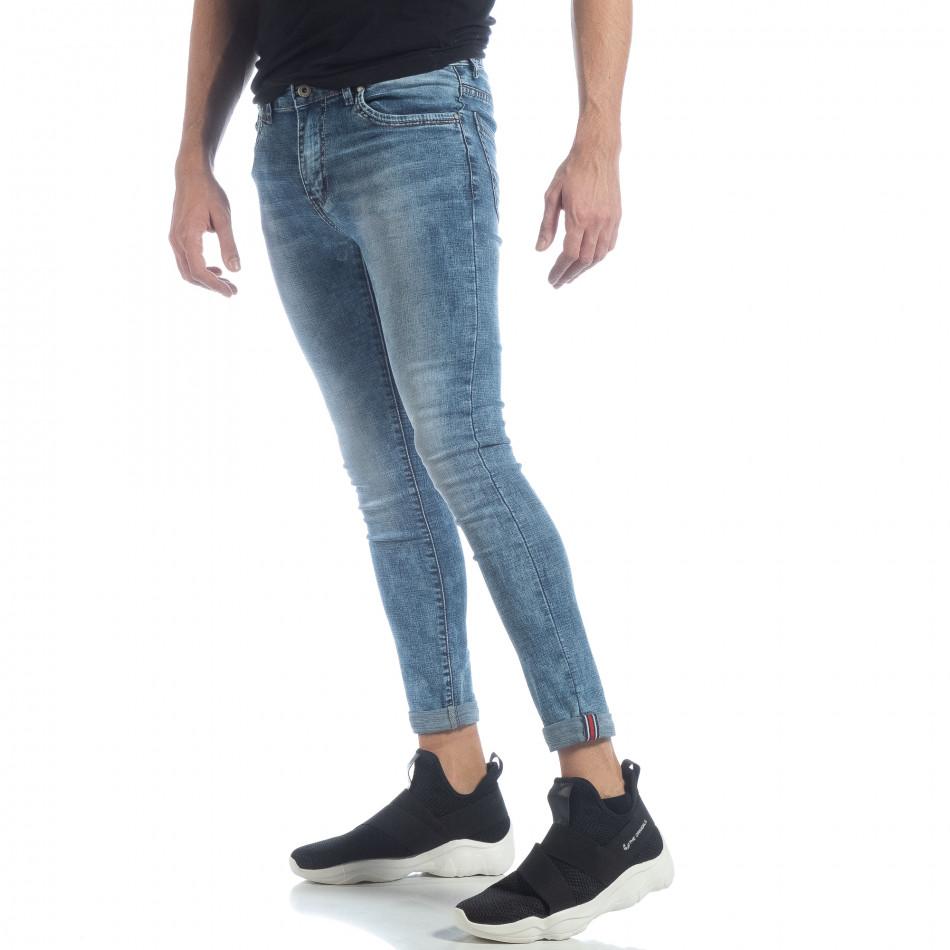 Skinny Washed Jeans albaștri pentru bărbați  it040219-7