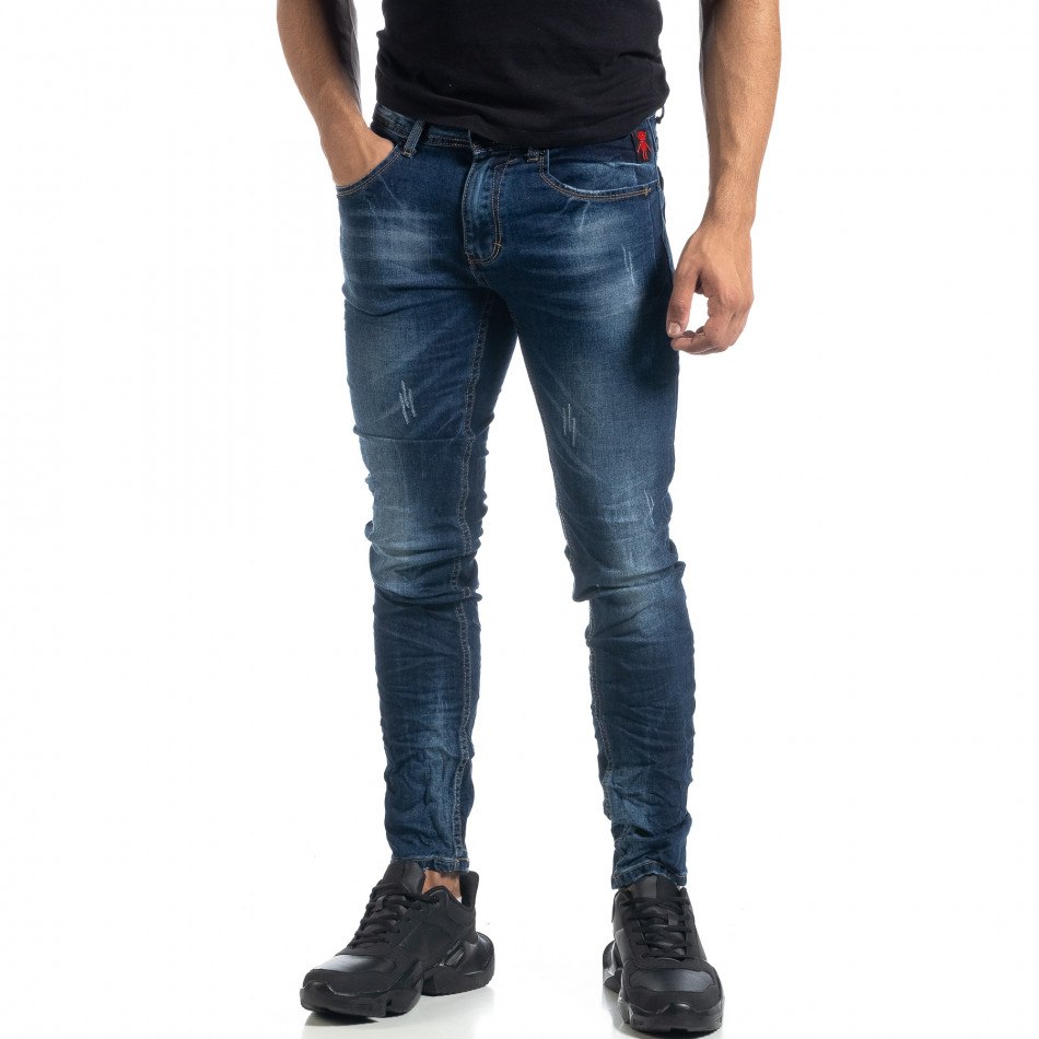 Blugi de bărbați albaștri cu efect decolorat și rupturi Slim fit it041019-29