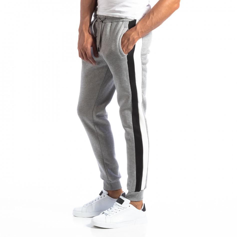 Pantaloni sport gri cu benzi pentru bărbați it250918-39