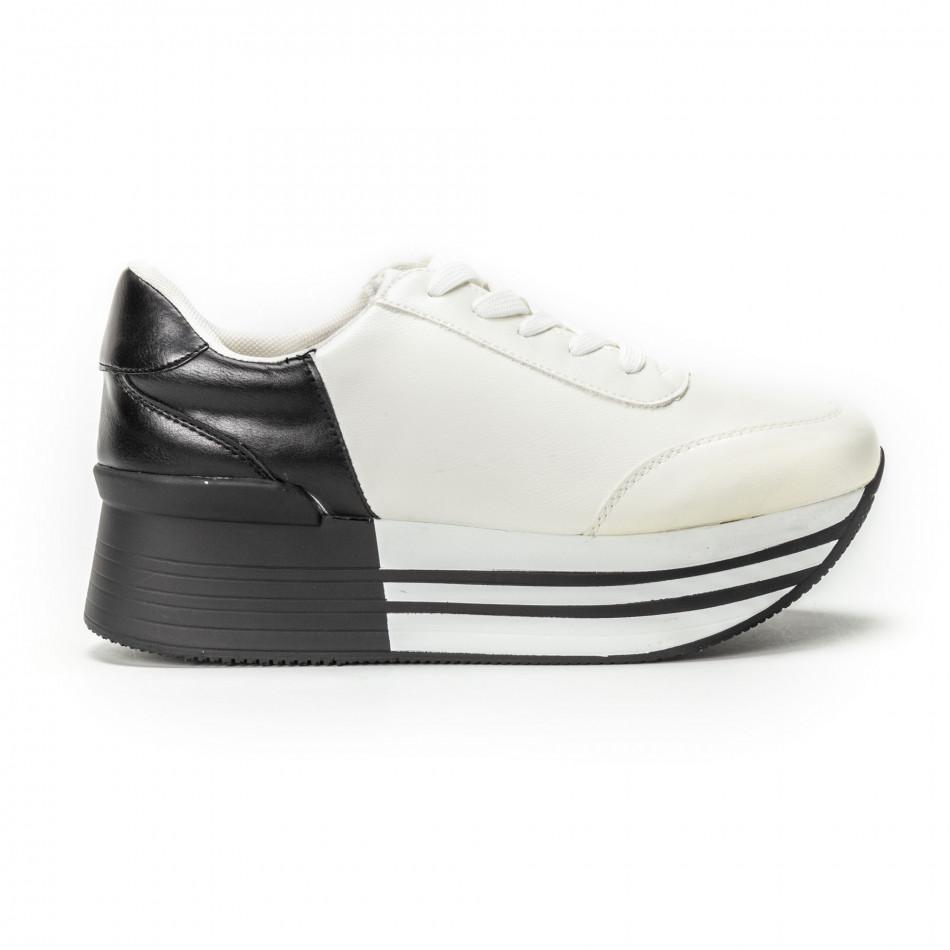 Pantofi sport cu platforma în negru-alb pentru dama  it150818-72