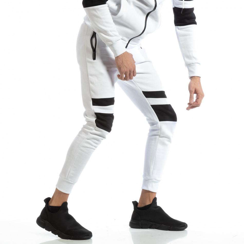 Jogger pentru bărbați alb cu părți negre it261018-61