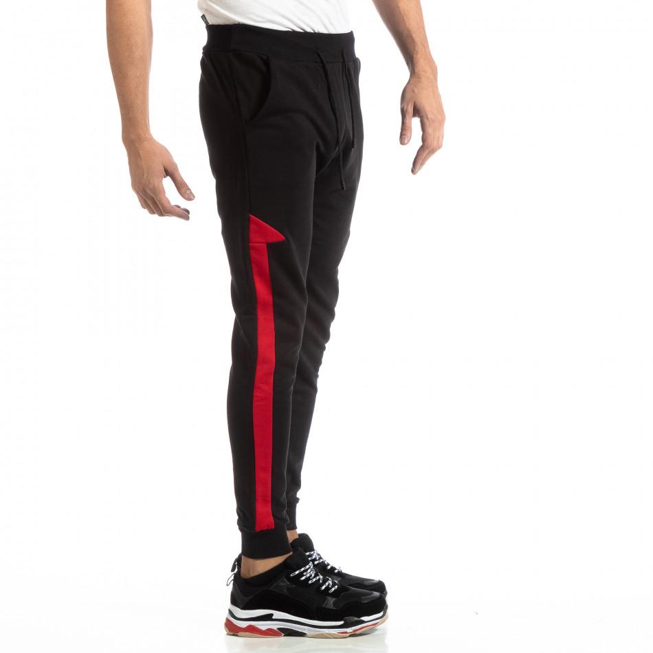 Pantaloni sport pentru bărbați din bumbac negru cu roșu it261018-39