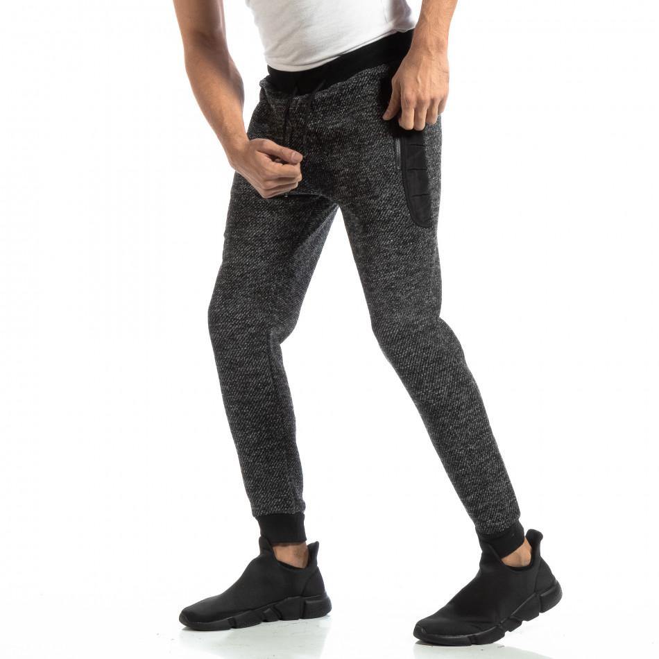 Pantaloni sport pentru bărbați în melanj negru-gri it261018-53