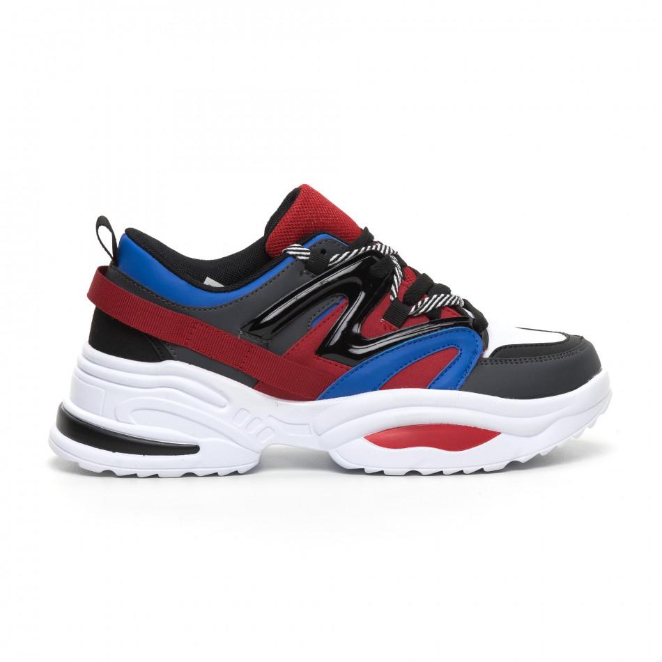 Adidași de bărbați design Chunky în albastru și roșu it260919-34