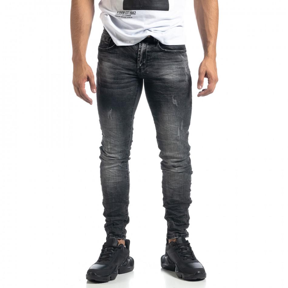 Blugi de bărbați gri cu efect decolorat și rupturi Slim fit it041019-28