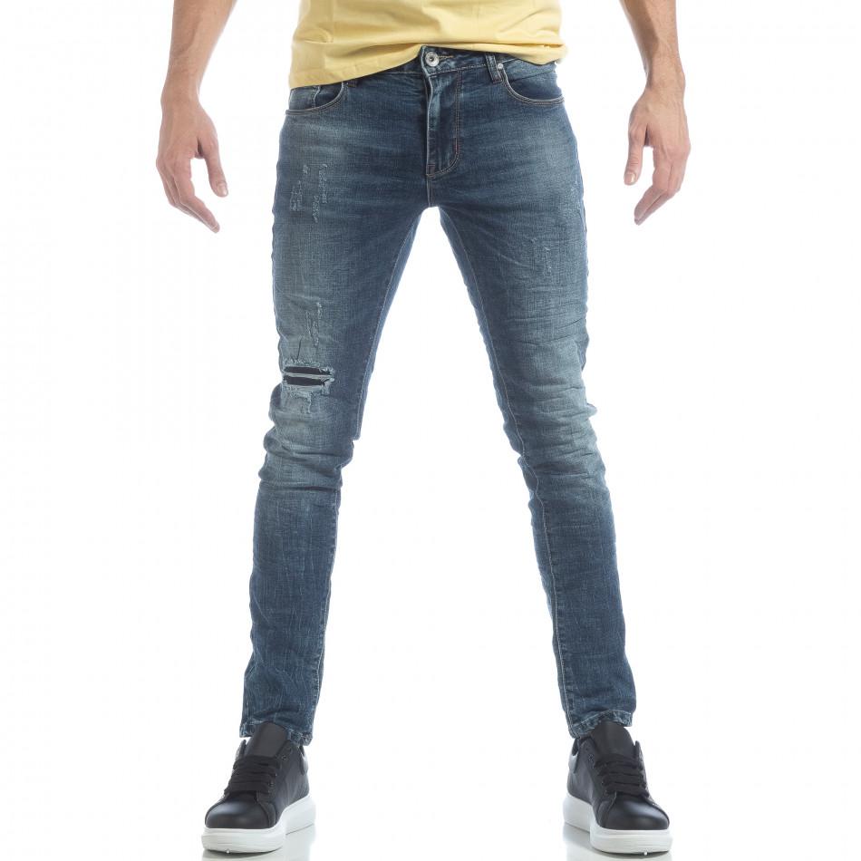 Washed Jeans de bărbați albaștri cu rupturi it040219-10