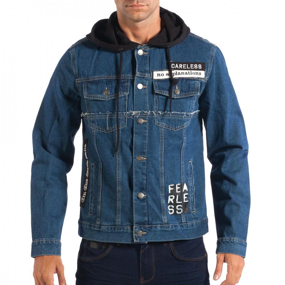 Jachetă cu glugă pentru bărbați RESERVED în albastru închis  lp070818-86