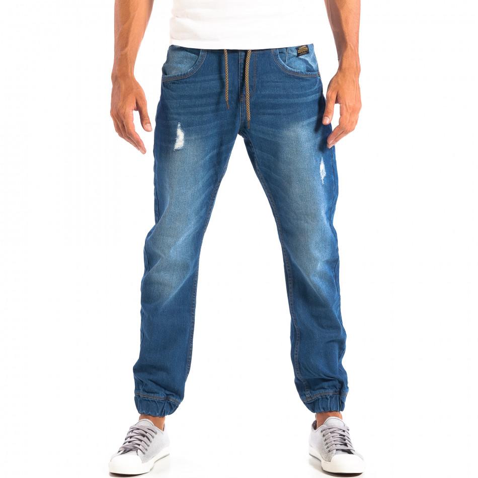 Blugi Jogger albaștri cu rupturi pentru bărbați CROPP  lp060818-31