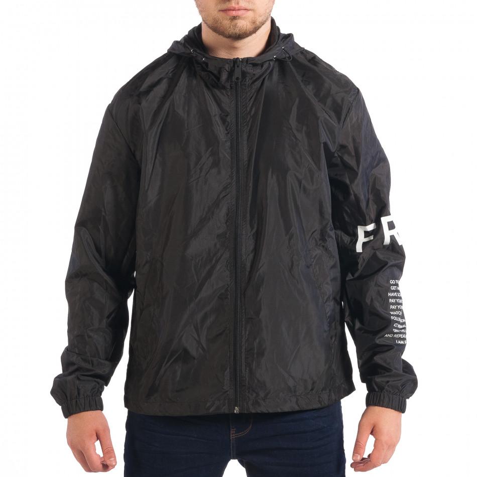 Jachetă neagră de primăvară-toamnă pentru bărbați RESERVED lp070818-87