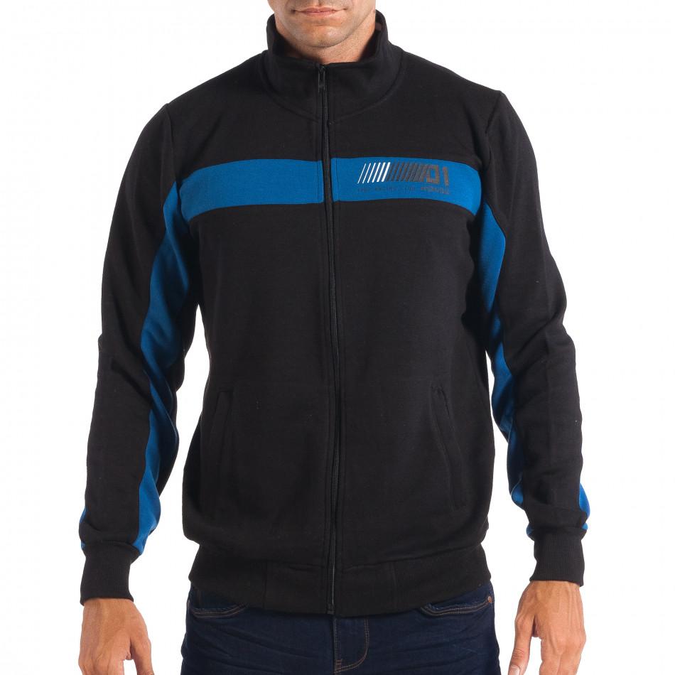 Hanorac negru de bărbați House cu părți albastre lp080818-115