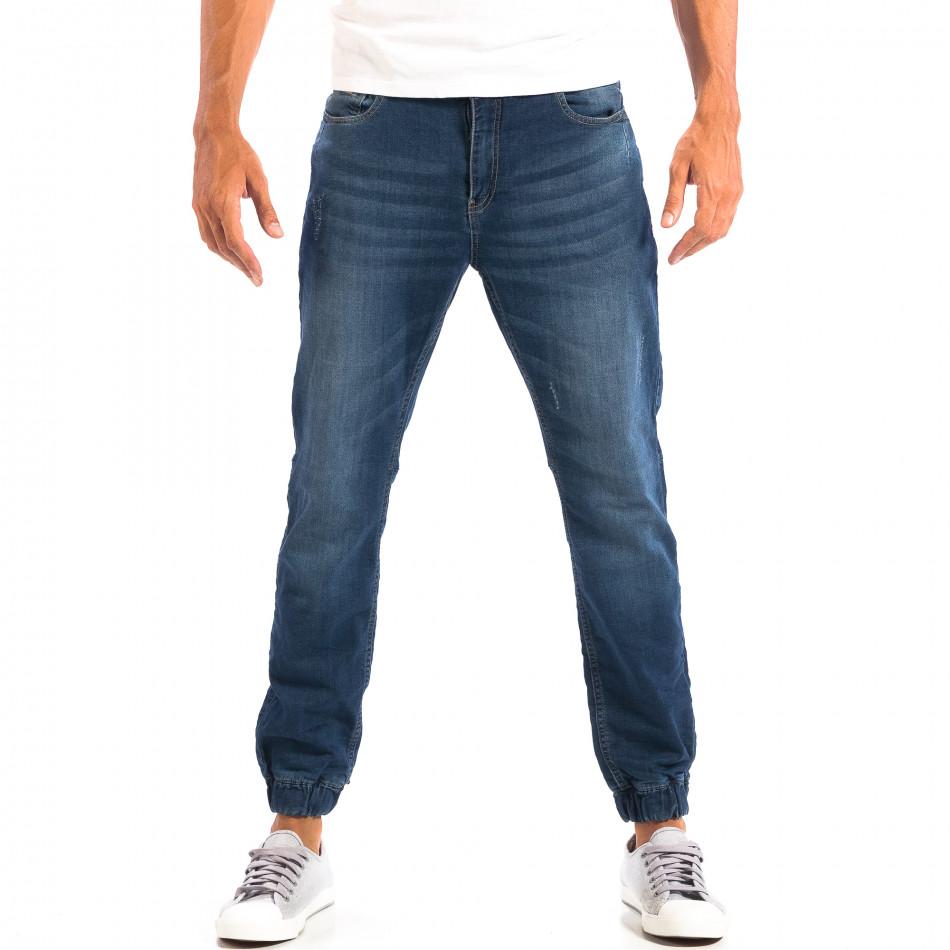 Blugi albaștri pentru bărbați House cu elastic la glezna lp060818-47