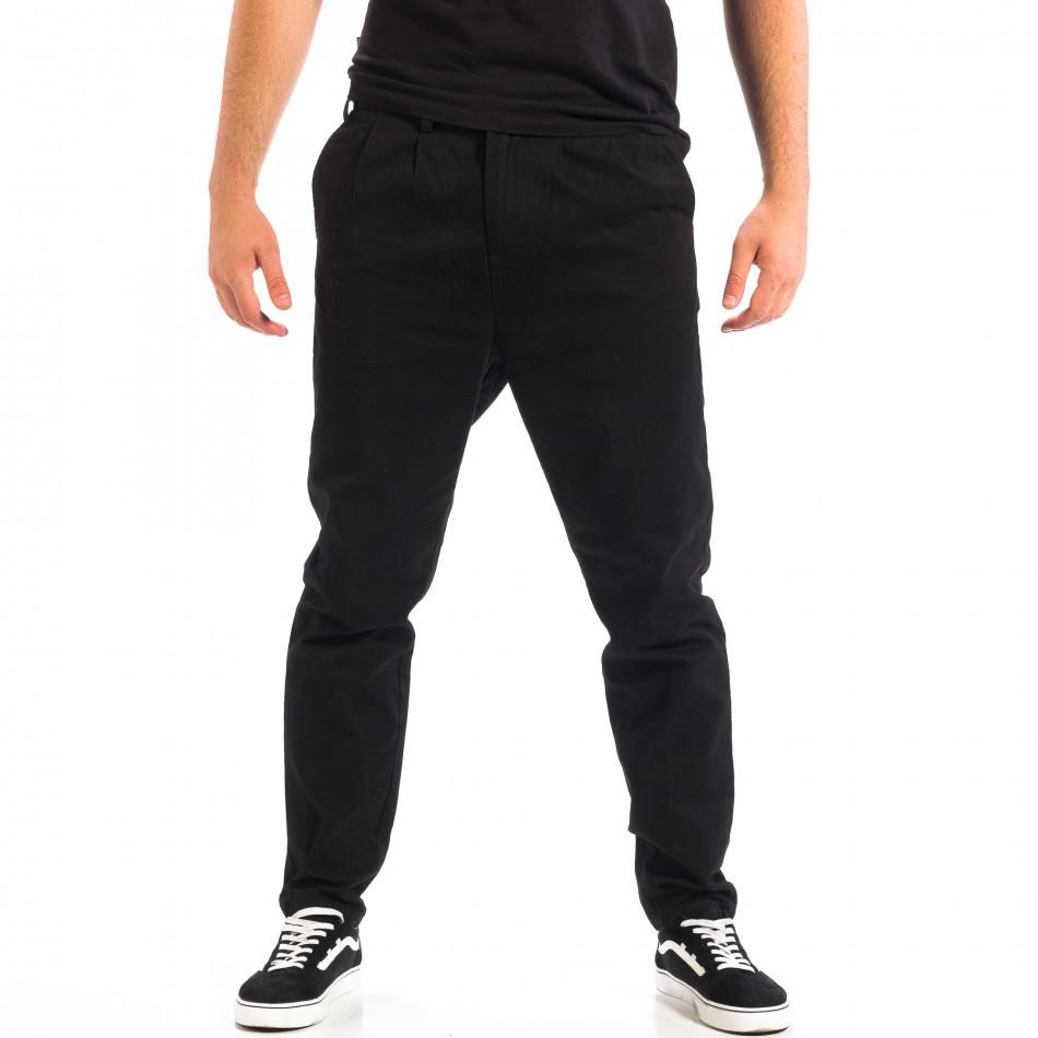 Pantaloni negri Cropped Chino pentru bărbați lp060818-121