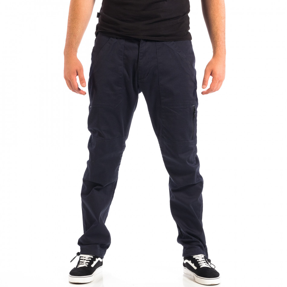 Pantaloni albaștri pentru bărbați CROPP cu elastic la glezna lp060818-125