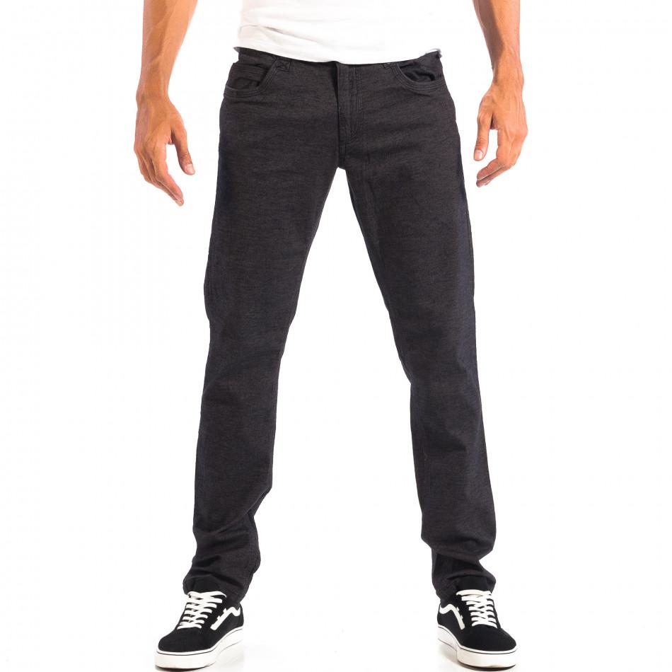 Pantaloni Slim pentru bărbați RESERVED în melanj negru lp060818-111