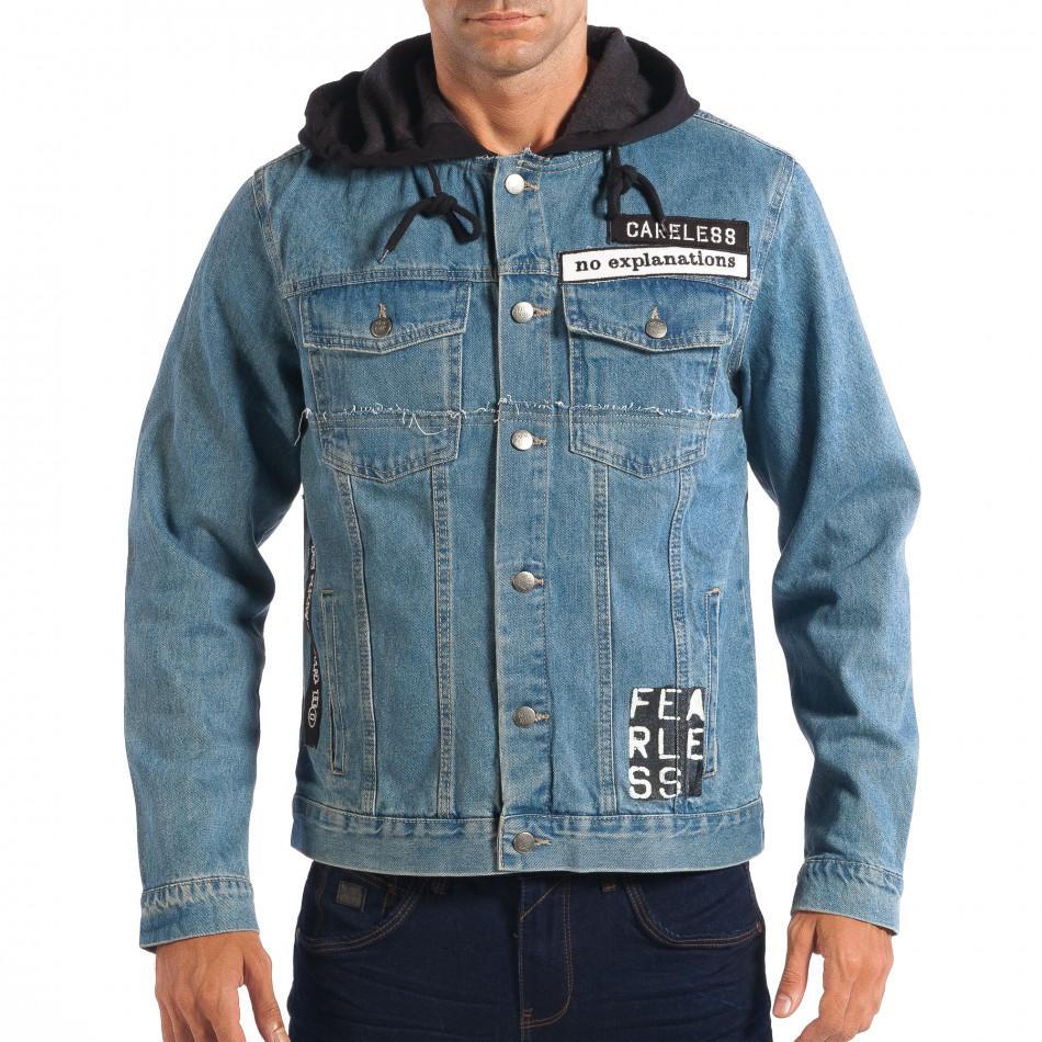 Jachetă cu glugă pentru bărbați RESERVED în albastru deschis lp070818-85