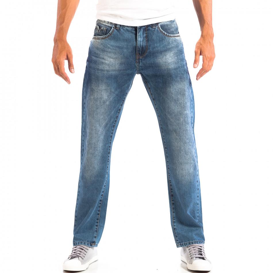 Blugi albaștri pentru bărbați House în stil retro lp060818-29