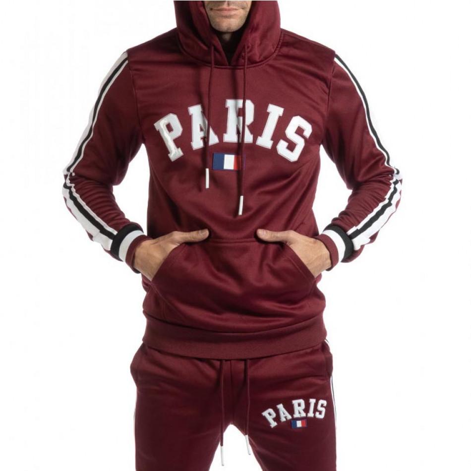 Hanorac pentru bărbați Paris în bordo it261018-69