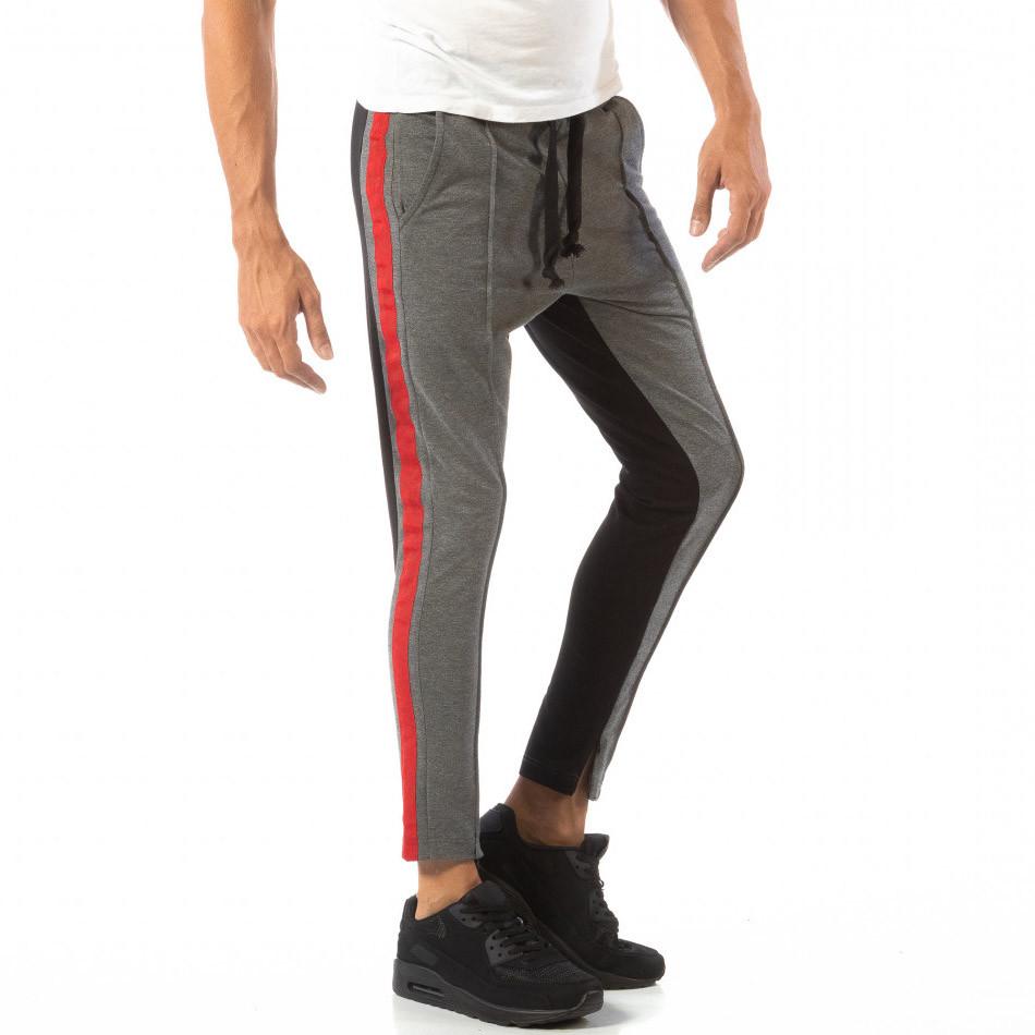Jogger pentru bărbați în gri și negru cu banda roșie it240818-100