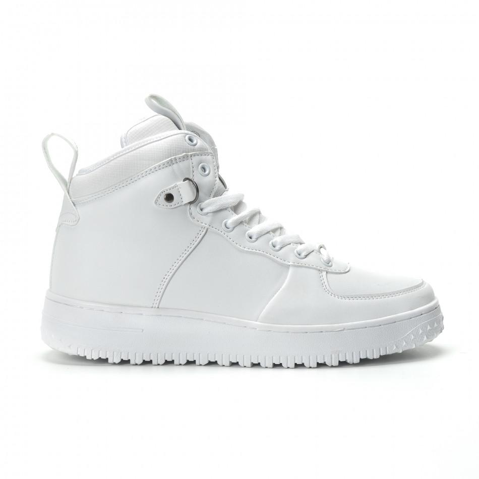 Teniși înalți albi cu șireturi pentru bărbați it301118-10-1