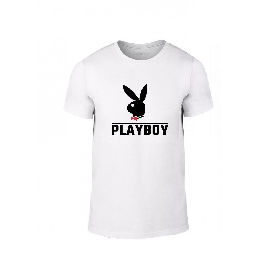 Tricou pentru barbati Playboy alb, mărimea XL TMNLPM250XL