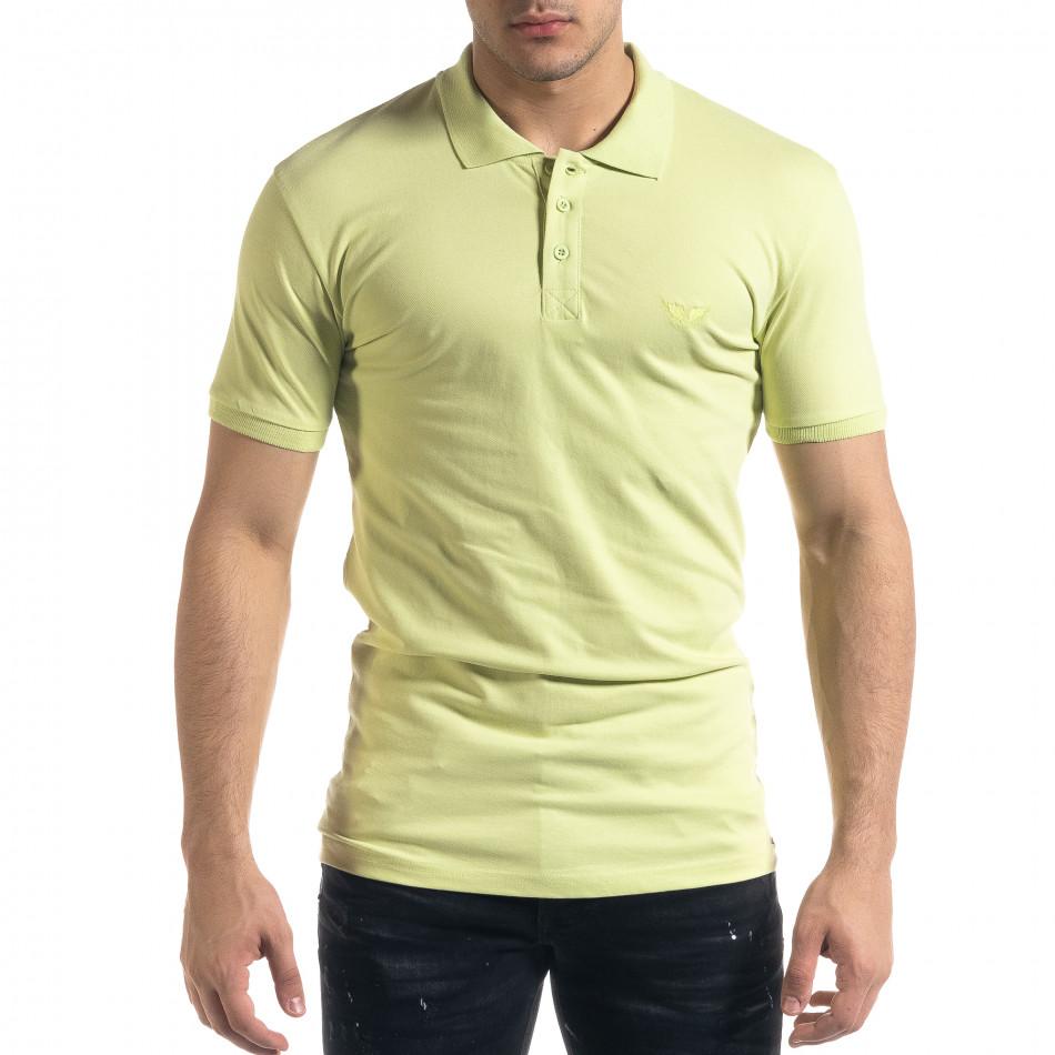 Tricou cu guler bărbați Lagos verde tr110320-18