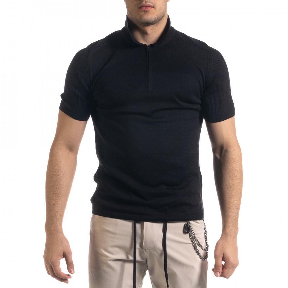 Tricou cu guler bărbați Breezy negru tr110320-57