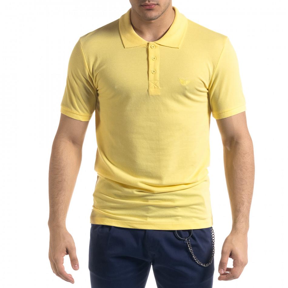 Tricou cu guler bărbați Lagos galben tr110320-17