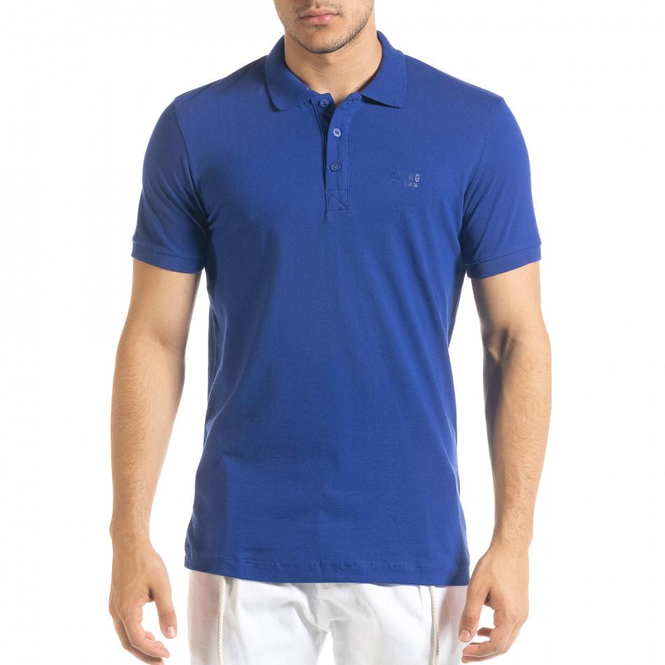 Tricou cu guler bărbați Clang albastru tr080520-52
