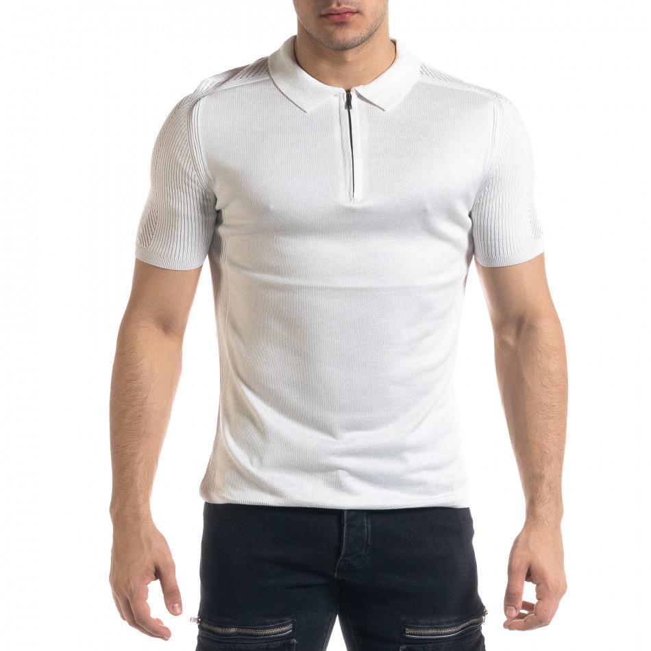 Tricou cu guler bărbați Breezy alb tr110320-56