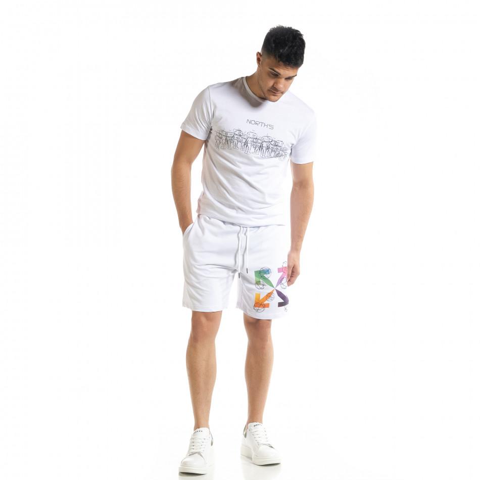 Set sportiv alb pentru bărbați cu imprimeu tr080520-63