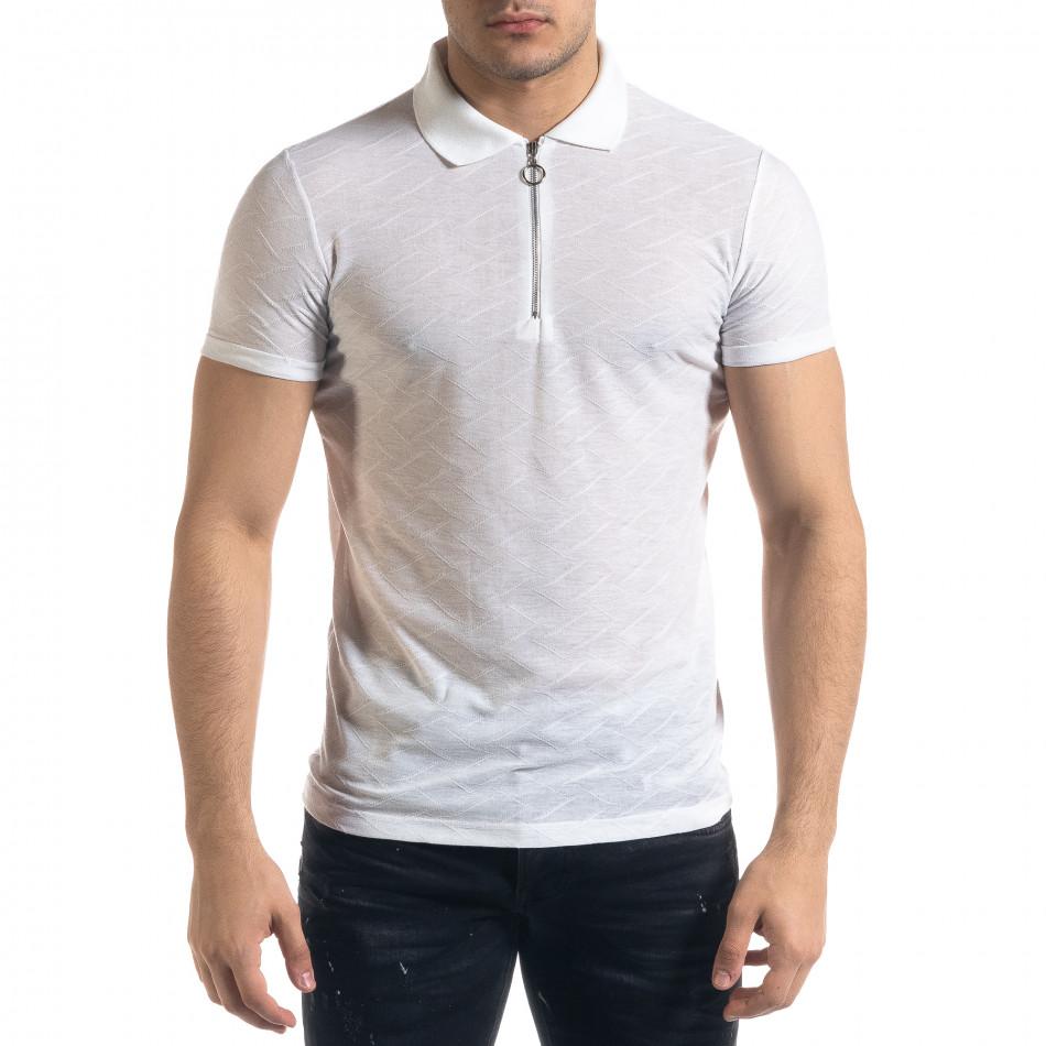 Tricou cu guler bărbați Lagos alb tr110320-21