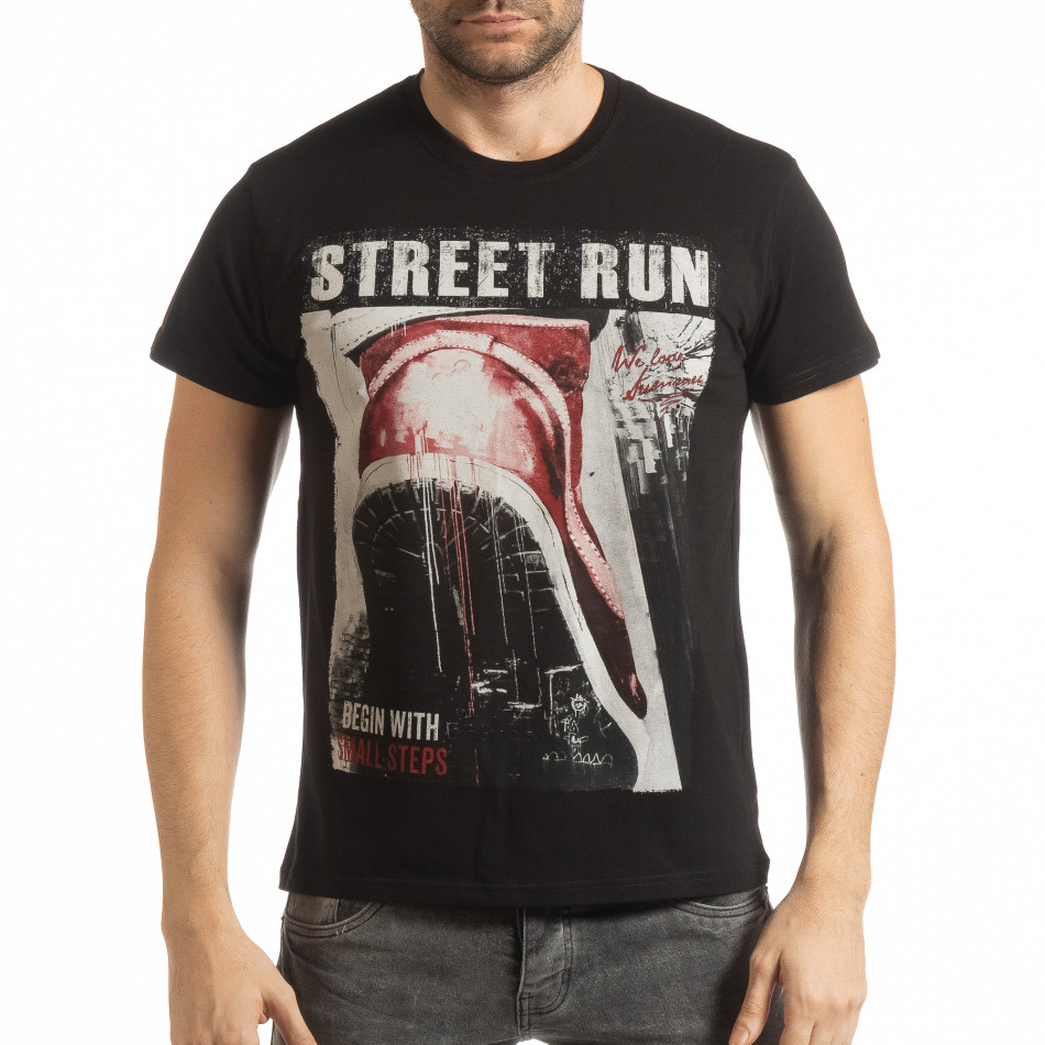 Tricou negru Street Run pentru bărbați tsf190219-83