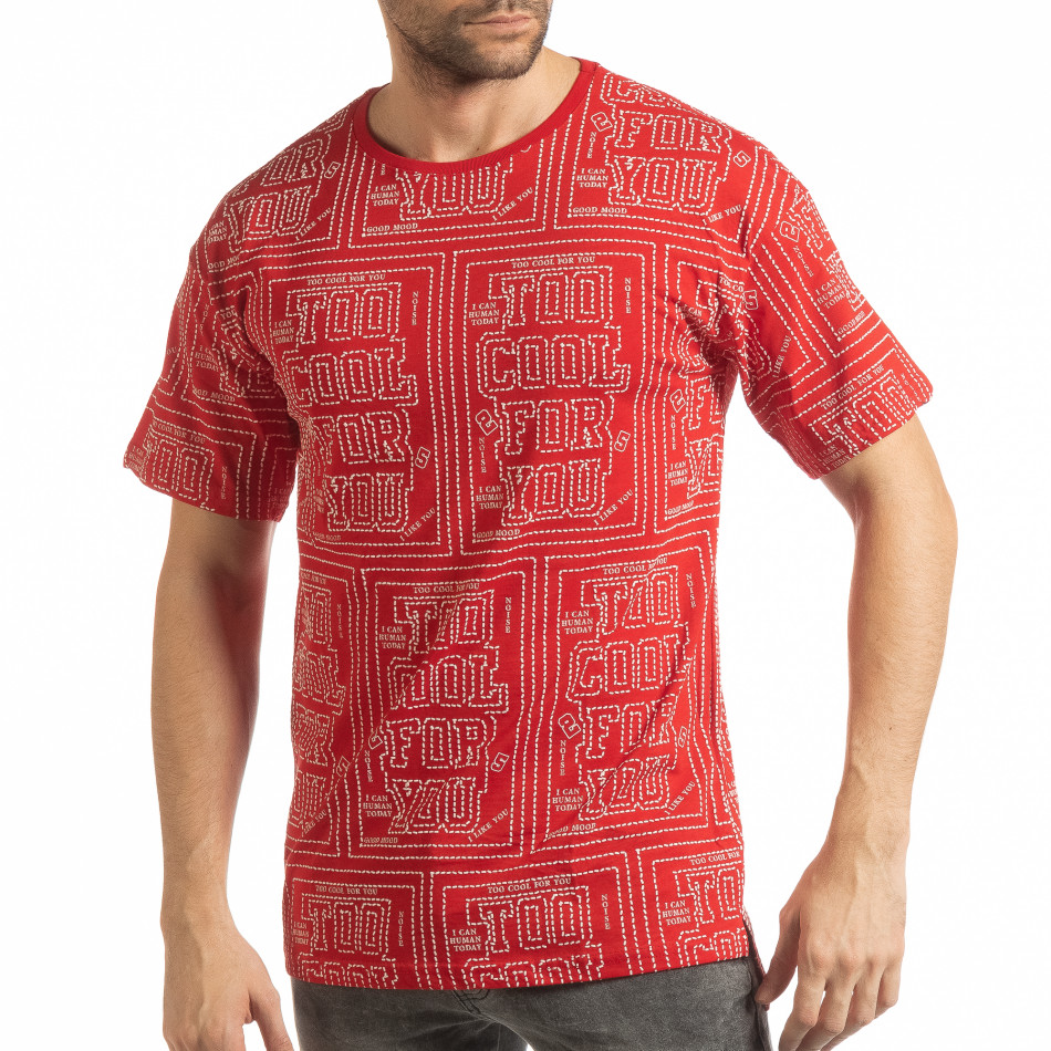 Tricou roșu pentru bărbați cu spate prelungit tsf190219-27